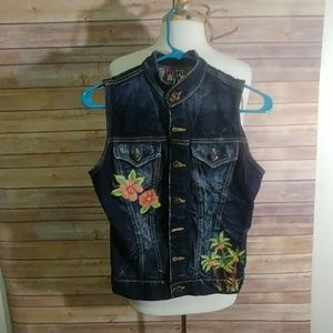 People for peace embroidered denim vest